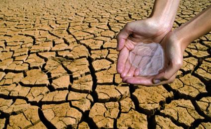 Hands Holding Water in Desert
